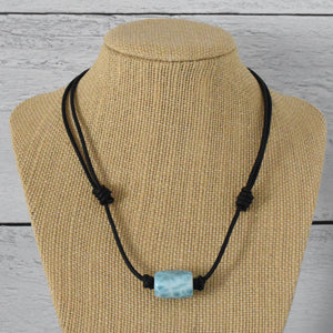 "Larimar and Black Leather Adjustable Necklace. 15"" Choker to 29 Inch"