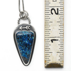 Shattuckite Protective Arrow Pendant. Solid 925 Sterling Silver
