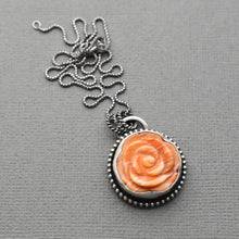 Load image into Gallery viewer, Spiny Oyster Pendant Carved Flower and Sterling Silver Necklace
