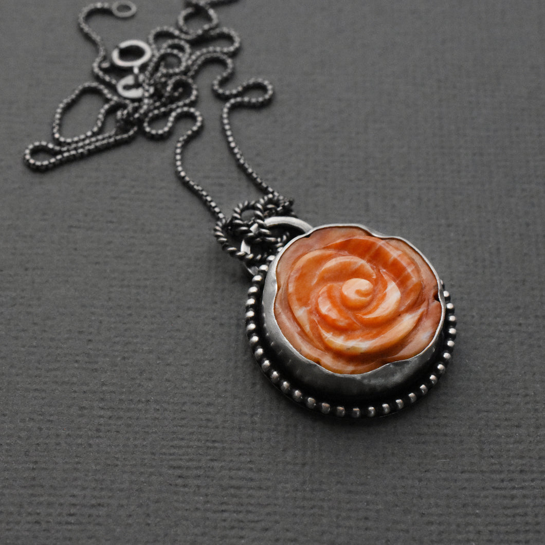 Spiny Oyster Pendant Carved Flower and Sterling Silver Necklace