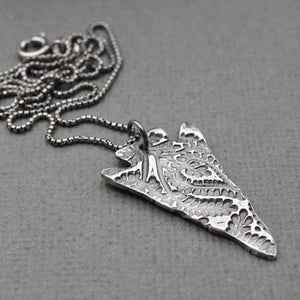 Large Silver Arrowhead Necklace with Paisley Design