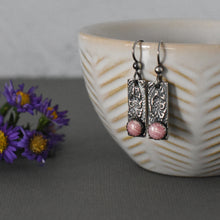 Load image into Gallery viewer, Rhodochrosite Sterling Silver Bar Earrings with a Stamped Paisley Texture