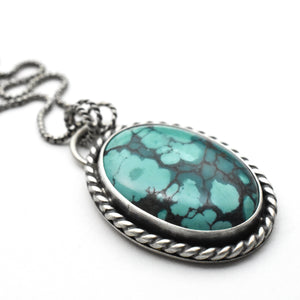 Turquoise Pendant Necklace Double Sided Necklace With Mountain and Moon Cutout