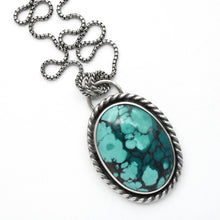 Load image into Gallery viewer, Turquoise Pendant Necklace Double Sided Necklace With Mountain and Moon Cutout