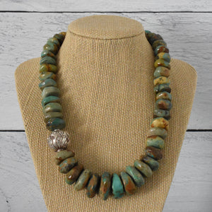 Bold Turquoise and Solid 925 Sterling Silver Necklace