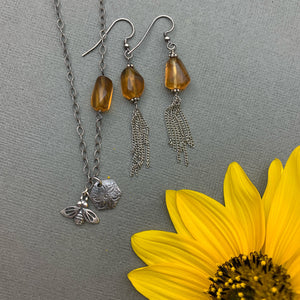 Asymmetrical Amber Bumble Bee Charm Necklace. Sterling Silver