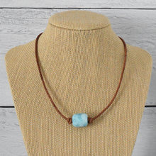 Load image into Gallery viewer, Larimar and Rustic Brown Leather Choker Necklace