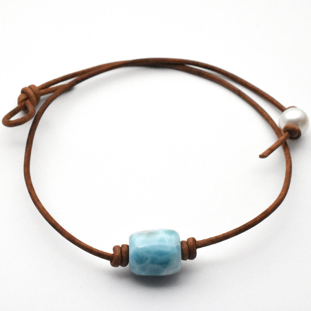 Larimar and Rustic Brown Leather Choker Necklace