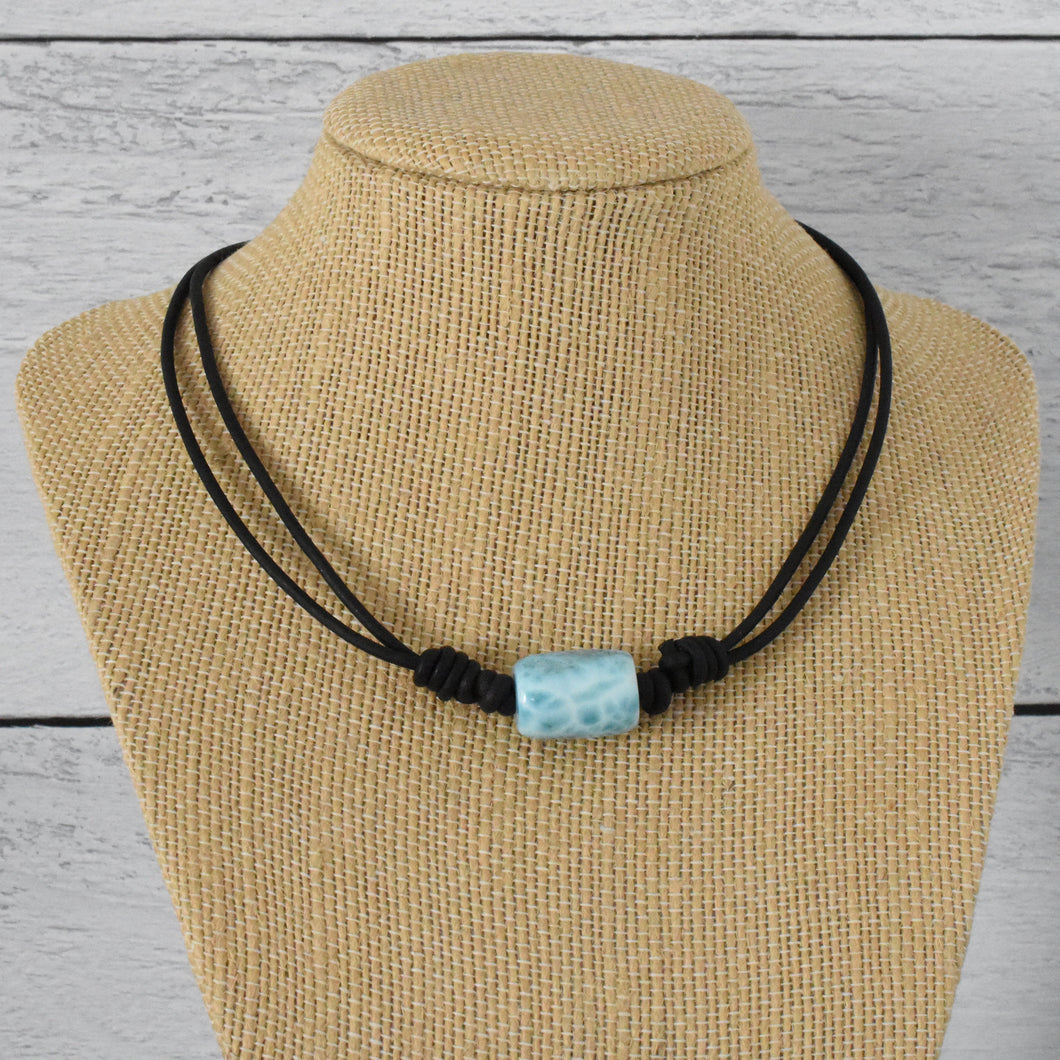Larimar and Black Leather Adjustable Necklace. 15