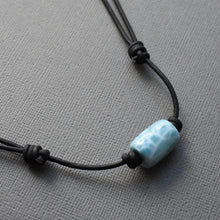 "Load image into Gallery viewer, Larimar and Black Leather Adjustable Necklace. 15"" Choker to 29 Inch"