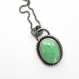 Utah Lucin Variscite Double-Sided Pendant with a Prickly Pear Cactus Stamp on Back.