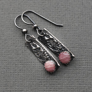 Rhodochrosite Sterling Silver Bar Earrings with a Stamped Paisley Texture