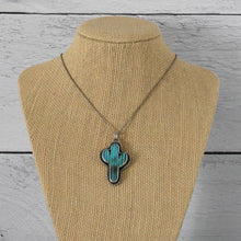 Load image into Gallery viewer, Kingman Turquoise Saguaro Cactus and Sterling Silver Necklace