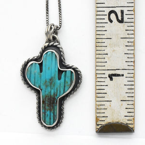 Kingman Turquoise Saguaro Cactus and Sterling Silver Necklace