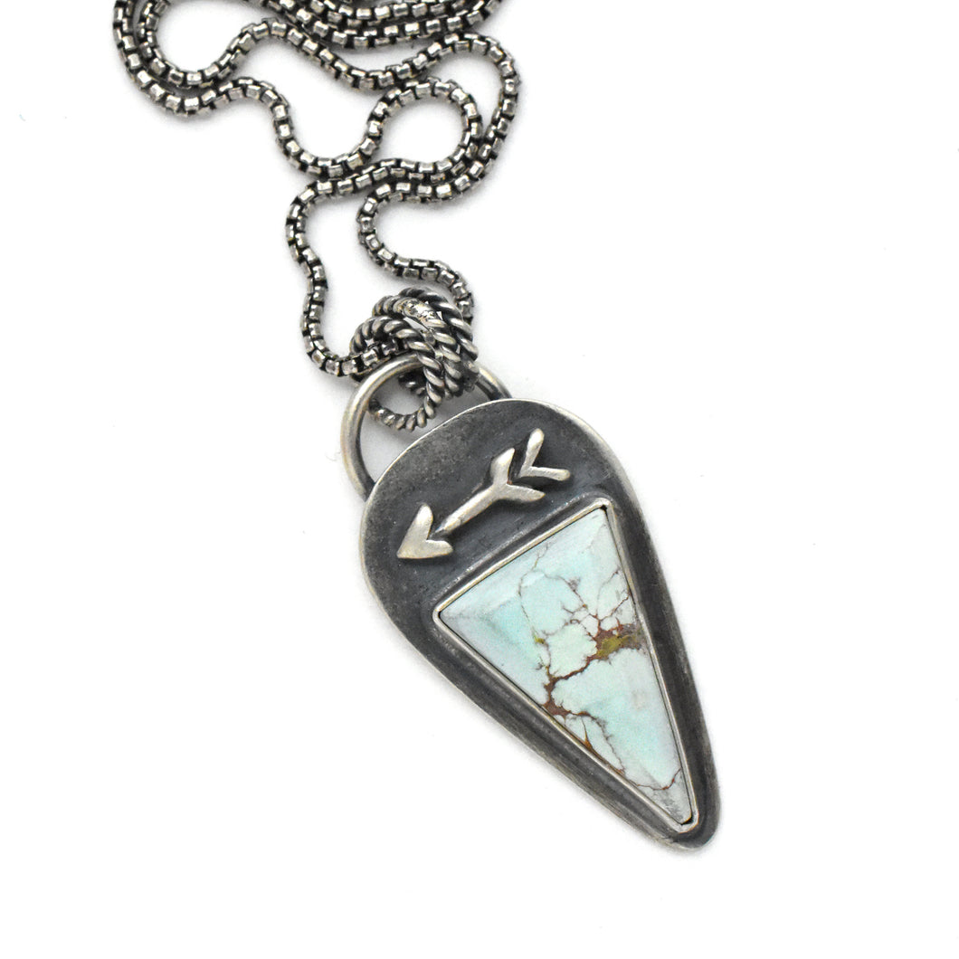 Beautiful Pale Blue Sand Hill Turquoise Protective Arrow Necklace