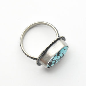 Blue Moon Turquoise and Sterling Silver Ring Size 7.25 US