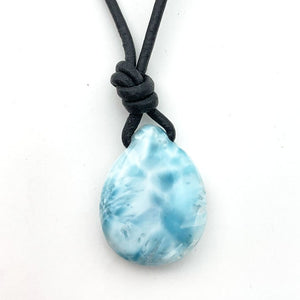 "Larimar and Black Leather Necklace. Genuine Blue Larimar Necklace. Leather, Pearl and Larimar 16"" Necklace"
