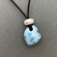 Load image into Gallery viewer, Larimar and Rustic Brown Leather Necklace with Freshwater Pearl. 16 inches