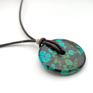 Turquoise Donut Pendant. Rustic Brown Leather, Turquoise, Thai Hill tribe Silver and Freshwater Pearl Necklace
