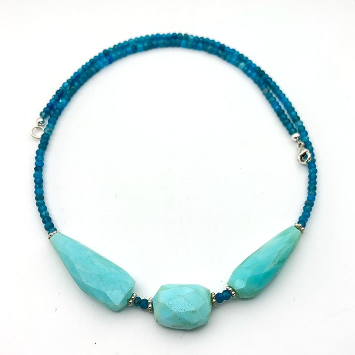 Blue Peruvian Opal, Apatite and Sterling Silver Necklace. Chalcedony