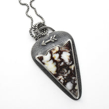 Load image into Gallery viewer, Wild Horse Magnesite Arrow Pendant Necklace. Solid 925 Sterling Silver Arrowhead Double Sided Necklace With Cactus Stamping on back.