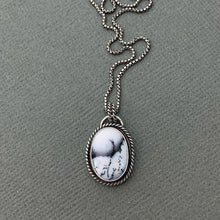 Load image into Gallery viewer, Dendritic Opal and Sterling Silver Pendant. Merlinite, Dendritic Agate, Chalcedony, Snowy Landscape Stone