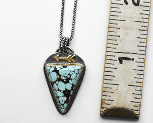 Yungai Turquoise Gold and Silver Protective Arrow Pendant