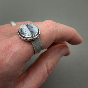 Dendritic Opal and Sterling Silver Ring. Merlinite, Dendritic Agate, Chalcedony, Snowy Landscape Stone 8.75 Size