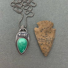 Load image into Gallery viewer, Variscite and Sterling Silver Protective Arrow Necklace