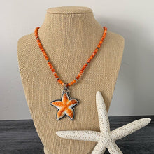 Load image into Gallery viewer, Orange Spiny Oyster Starfish and Sterling Silver Pendant. Carved Spiny Oyster Necklace.