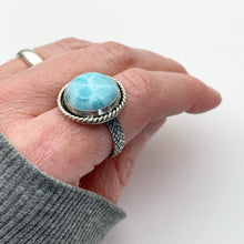 Load image into Gallery viewer, Larimar and Solid 925 Sterling Silver Ring. Mermaid Ring Size 9.25 US