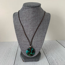 Load image into Gallery viewer, Turquoise Donut Pendant. Rustic Brown Leather, Turquoise, Thai Hill tribe Silver and Freshwater Pearl Necklace