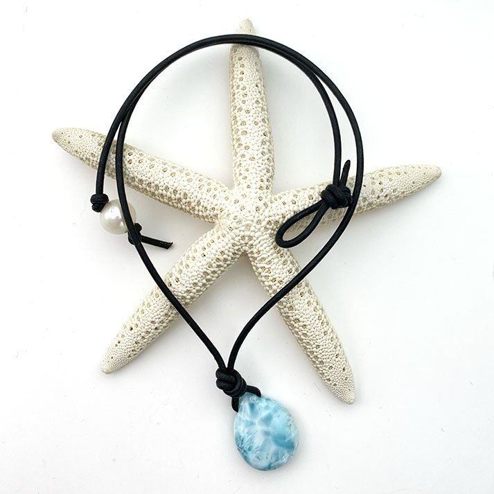 Larimar and Black Leather Necklace. Genuine Blue Larimar Necklace. Leather, Pearl and Larimar 16