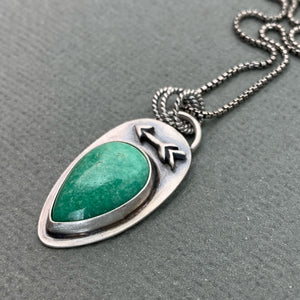 Variscite and Sterling Silver Protective Arrow Necklace