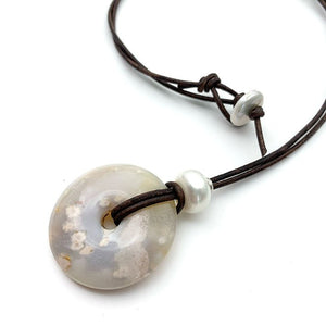 Montana Agate Long Leather Necklace. Montana Plume Agate Donut, Freshwater Pearl, Sterling Silver and Rustic Brown Leather Necklace.
