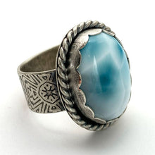 Load image into Gallery viewer, Larimar and Sterling Silver Ring. Wide Textured Band. AAA Genuine Larimar Size  8.25 US