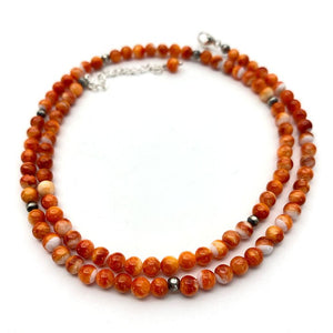 Orange Spiny Oyster and Navajo Pearls Necklace. Solid 925 Sterling Silver Southwest  Style Necklace with Extender