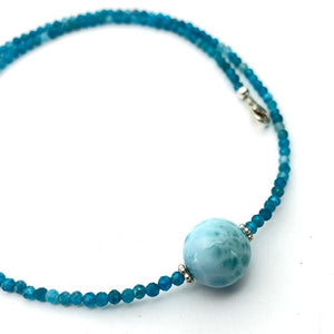 Larimar, Apatite and Sterling Silver Necklace. Adjustable