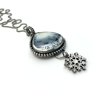 Dendritic Opal Chalcedony and Sterling Silver Snowflake Necklace.