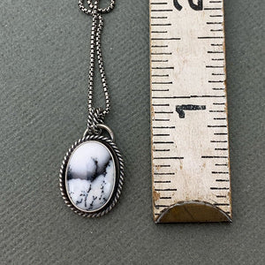 Dendritic Opal and Sterling Silver Pendant. Merlinite, Dendritic Agate, Chalcedony, Snowy Landscape Stone