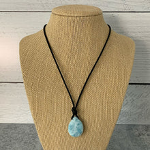 "Load image into Gallery viewer, Larimar and Black Leather Necklace. Genuine Blue Larimar Necklace. Leather, Pearl and Larimar 16"" Necklace"