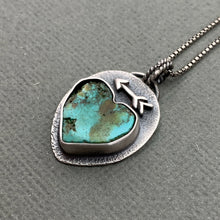 Load image into Gallery viewer, Rustic Turquoise Heart Protective Arrow Pendant. Solid 925 Sterling Silver Necklace