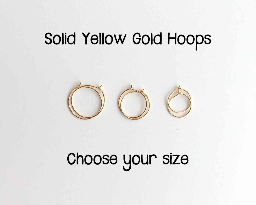 Solid Gold Hoop Earrings in 14k or 18k Solid Yellow Gold