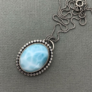Larimar Necklace. Solid 925 Sterling Silver Silver and Genuine AAA Blue Larimar Necklace