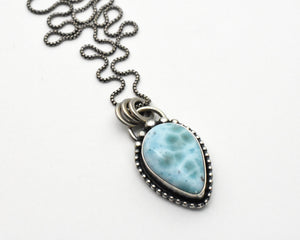 Larimar and Solid 925 Sterling Silver Silver Necklace