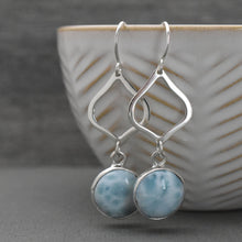 Load image into Gallery viewer, Larimar and Solid 925 Sterling Silver Earrings.