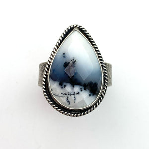 Dendritic Opal and Sterling Silver Ring. Merlinite, Dendritic Agate, Chalcedony, Snowy Landscape Stone  Size 10