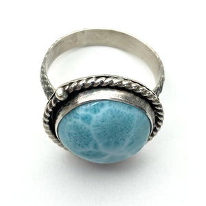 Larimar and Solid 925 Sterling Silver Ring. Mermaid Ring Size 9.25 US