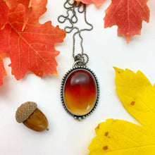 Load image into Gallery viewer, Carnelian Maple Leaf Pendant Necklace. Double Sided Ombre Red Orange Carnelian with  maple leaf cutout on back.