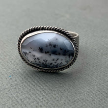 Load image into Gallery viewer, Dendritic Opal and Sterling Silver Ring. Merlinite, Dendritic Agate, Chalcedony, Snowy Landscape Stone 8.75 Size